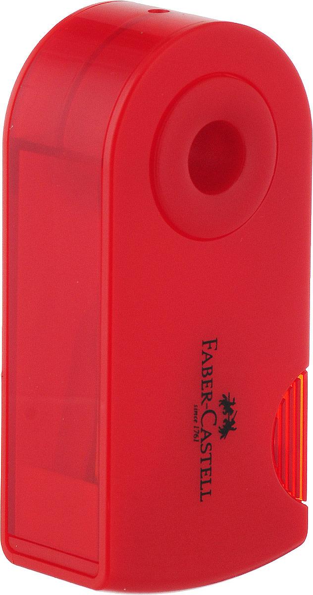 Точилка Faber-Castell, с контейнером и ластиком, красный