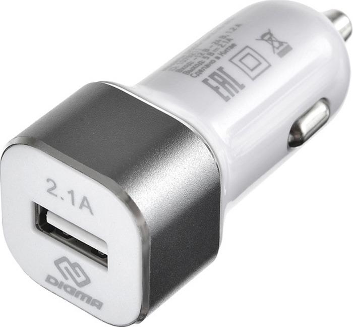 Автомобильное зарядное устройство Digma DGCC-1U-2.1A-WG 2.1A, белый
