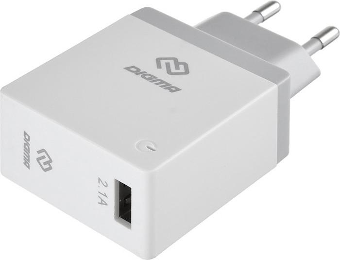 Зарядное устройство Digma DGWC-1U-2.1A-WG 2.1A, сетевое, белый сетевое зарядное устройство digma dgwc 2u 3a wg 3 а белый