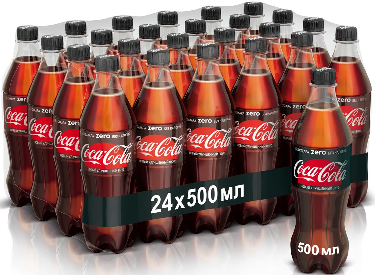 Coca-Cola Zero напиток сильногазированный 24 штуки по 0.5 л