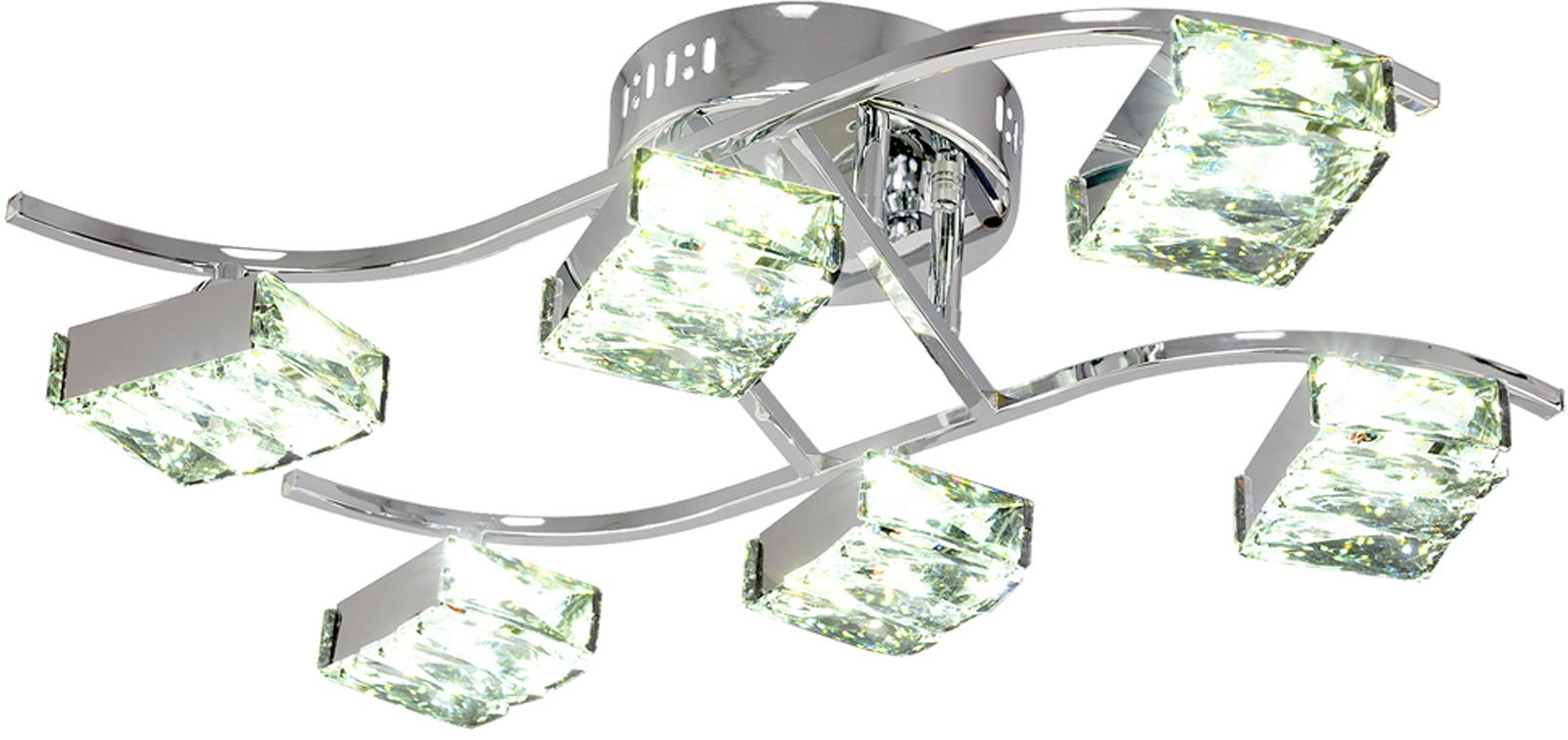 Потолочный светильник МАКСИСВЕТ 1663, 1-1663-6-CR Y LED, 570х350х160, 1-1663-6-CR Y LED, серебристый максисвет потолочная люстра максисвет design геометрия 1 1696 4 cr y led