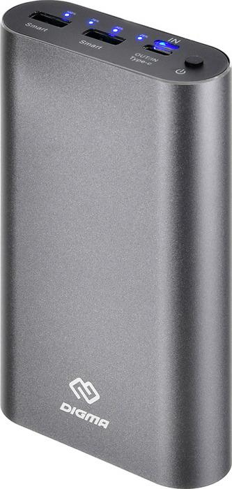 Внешний аккумулятор Digma, DG-ME-20000, 20000 мАч, темно-серый цена