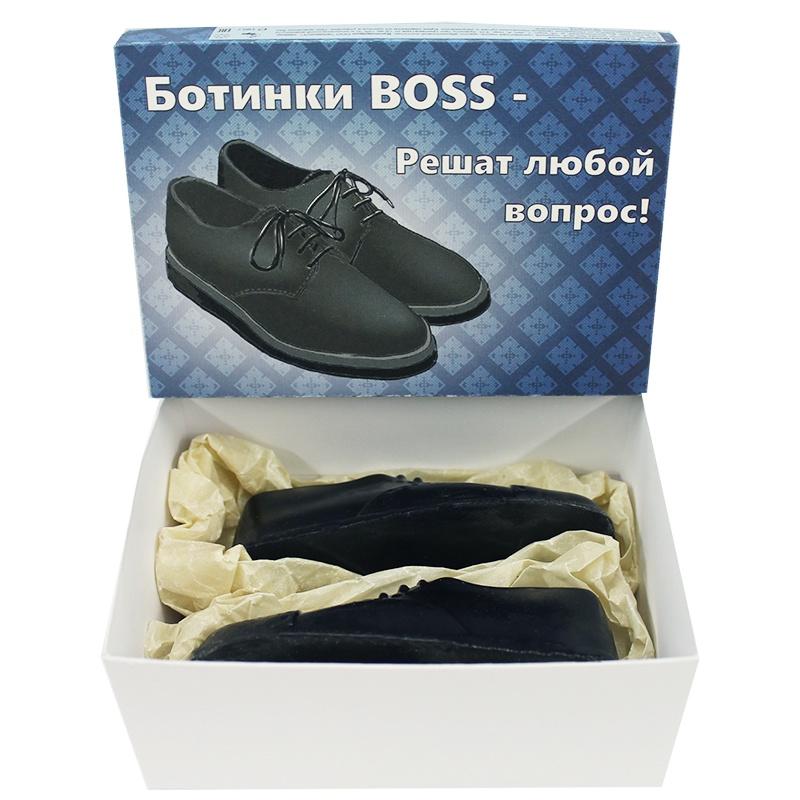 """Мыло туалетное ЭЛИБЭСТ натуральное глицериновое ухаживающее, набор """"Туфли мужские"""" маленькие туфли оригинальный, полезный подарок мужчине, парню, коллеге, 2 шт. по 90 гр. в картонной коробочке."""