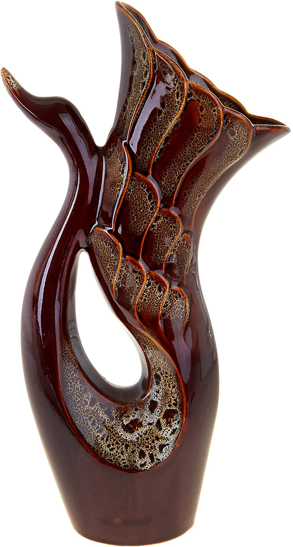 """Ваза Керамика ручной работы """"Лебедь"""", 911112, коричневый, 27 х 12 х 51 см"""