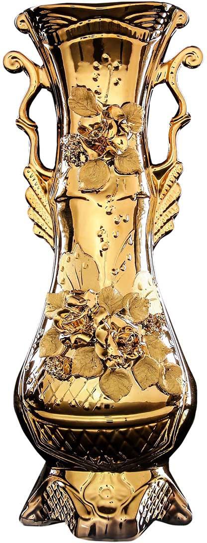 """Ваза Керамика ручной работы """"Ева"""", 196346, золотой, 10 х 10 х 40 см"""