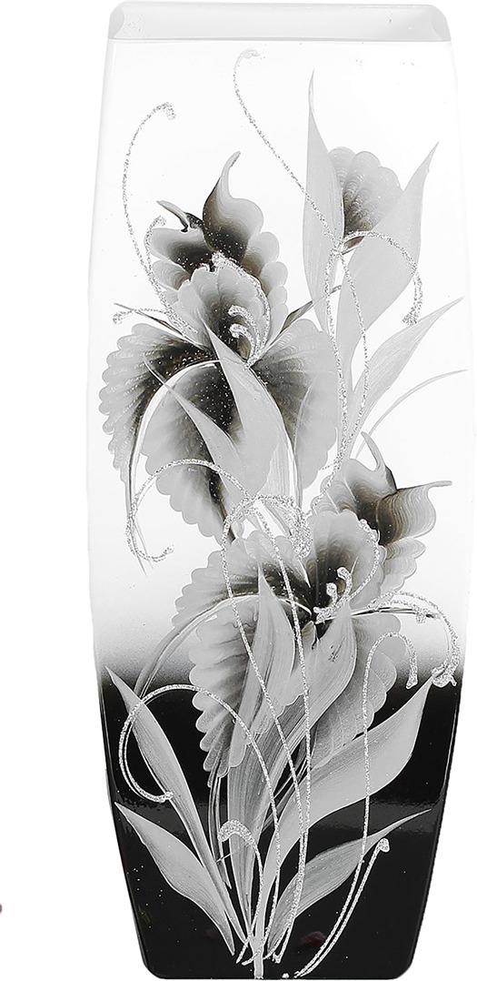 "Ваза ""Бочка"", 2702336, белый, серый, 14 х 16 х 40 см"
