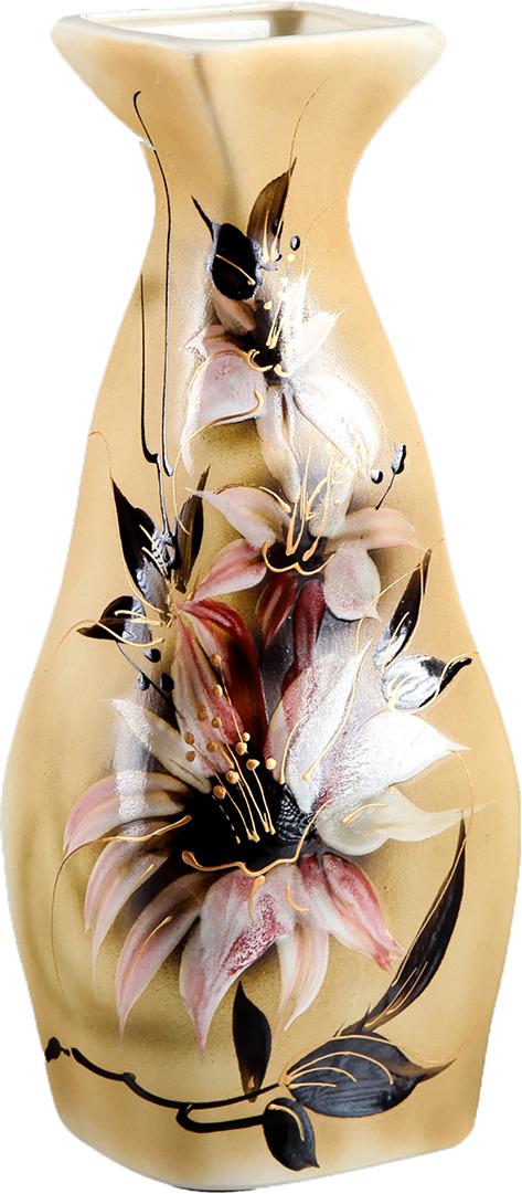 Ваза Керамика ручной работы Мадра, 3813348, бежевый, 10 х 16 х 39 см ваза керамика ручной работы натали 2 776273 бежевый 13 х 13 х 26 см