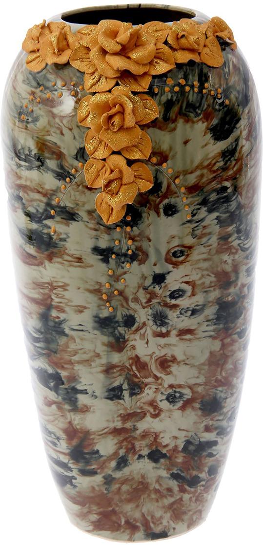 """Ваза Керамика ручной работы """"Аурика"""", 2623978, коричневый, золотой"""