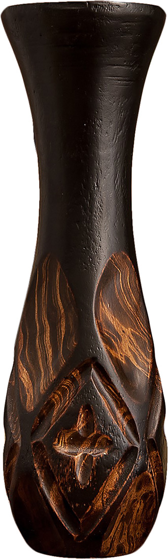 "Ваза ""Ромбы"", 3256994, коричневый, 12,5 х 12,5 х 38 см"