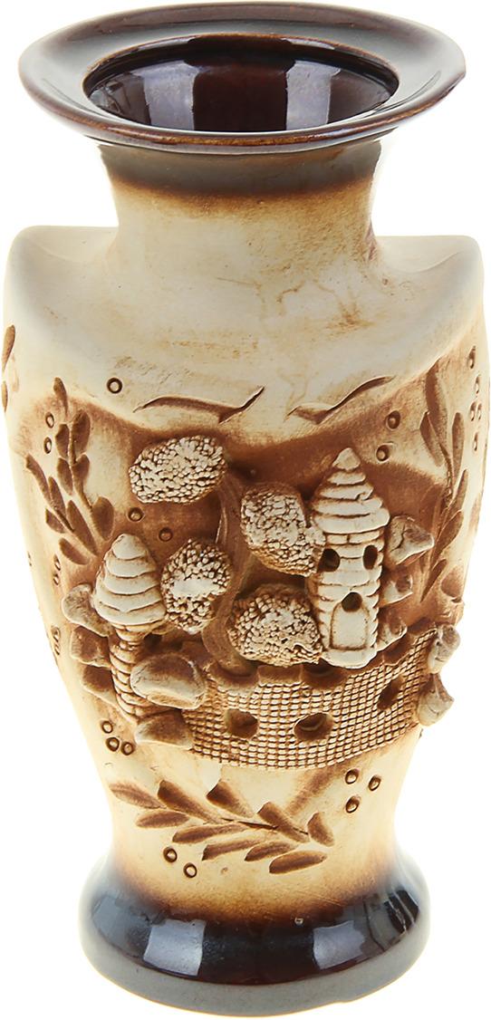 "Ваза Керамика ручной работы ""Амур"", 884406, коричневый, 10 х 10 х 20 см"