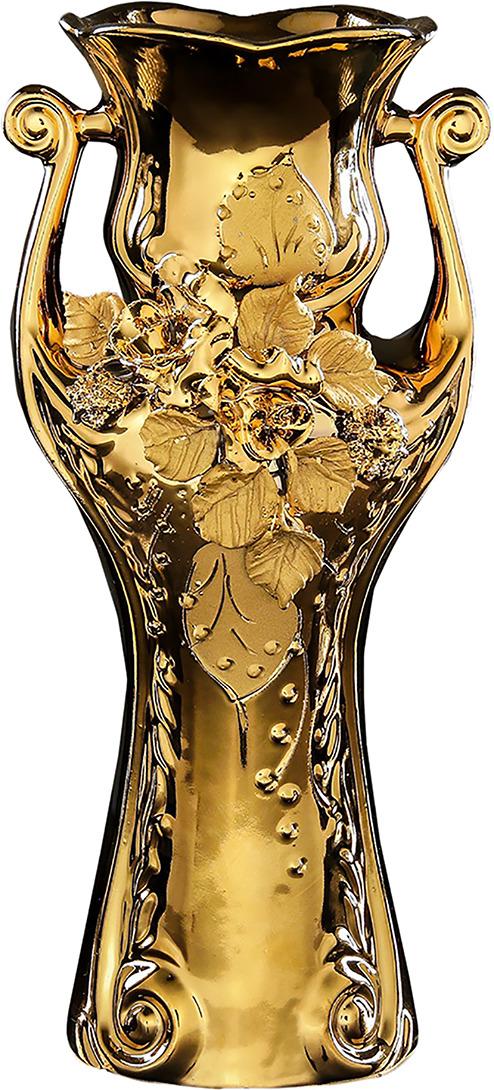 Ваза Керамика ручной работы Вивальди, 196342, золотой, 13 х 13 х 30 см ваза керамика ручной работы натали 2 776273 бежевый 13 х 13 х 26 см
