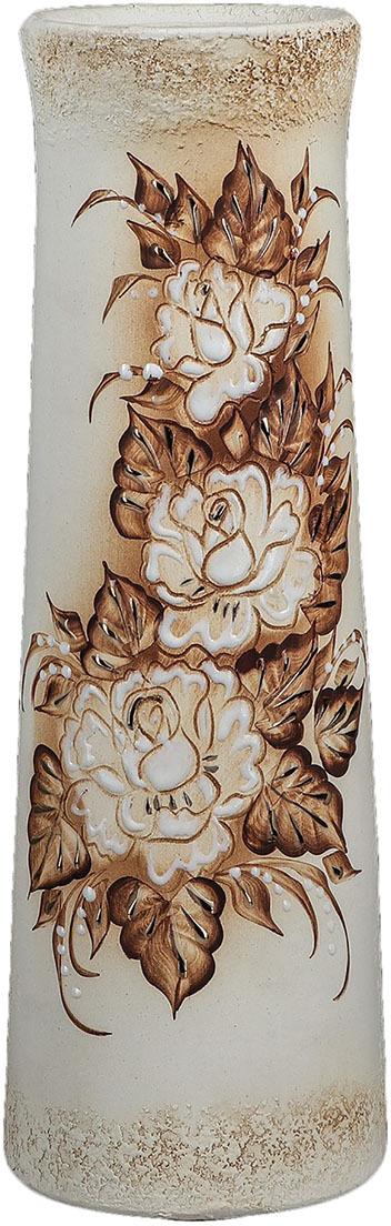 Ваза Керамика ручной работы Элита, 1093979, бежевый, 14 х 14 х 40 см ваза керамика ручной работы натали 2 776273 бежевый 13 х 13 х 26 см