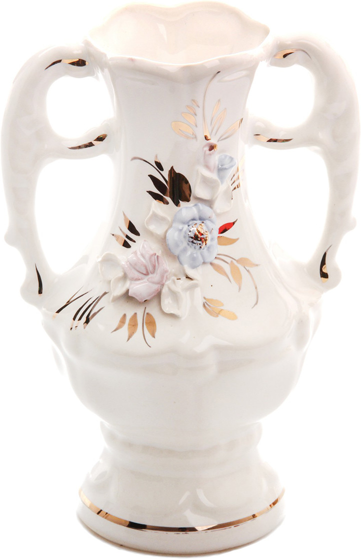 Ваза Керамика ручной работы Премьера, 774545, белый, 6 х 11 х 17 см ваза керамика ручной работы натали 2 776273 бежевый 13 х 13 х 26 см