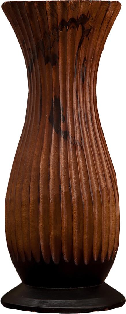 "Ваза ""Разрезы"", 3256998, коричневый, 15 х 15 х 38 см"