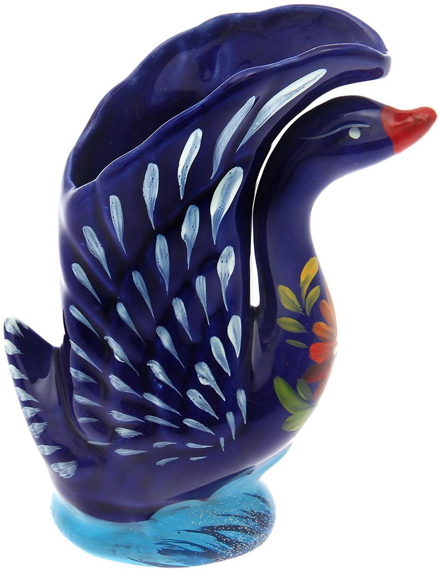 Ваза Керамика ручной работы Лебедь высокий, 1435586, синий, 11 х 7 х 19 см набор винный керамика ручной работы ружье 7 предметов