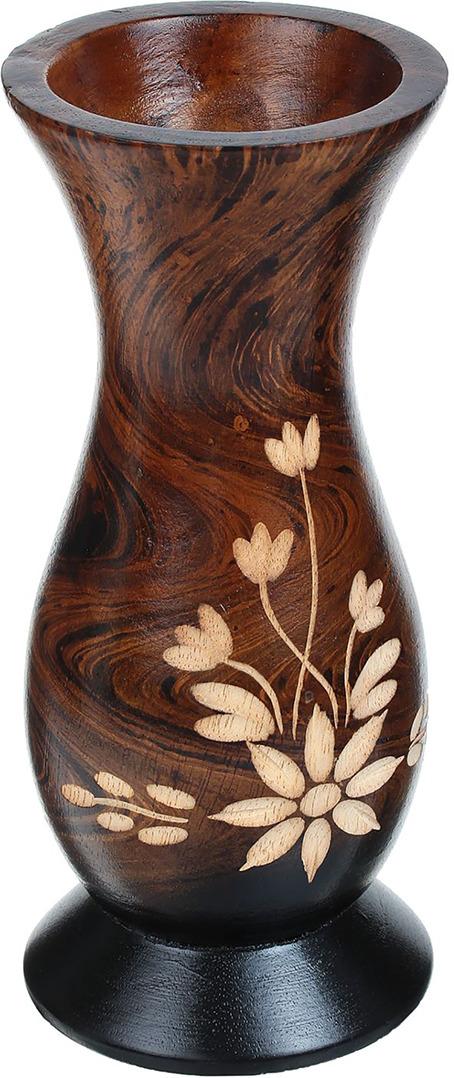 """Ваза """"Лютики"""", 1487849, коричневый, 7,5 х 7,5 х 19 см"""