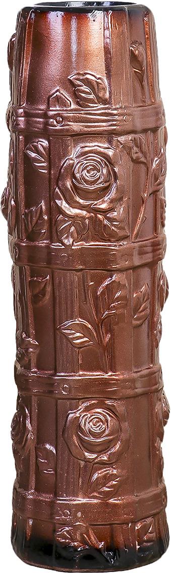 """Ваза """"Бочонок с розами"""", 3931568, коричневый, 18 х 18 х 60 см"""