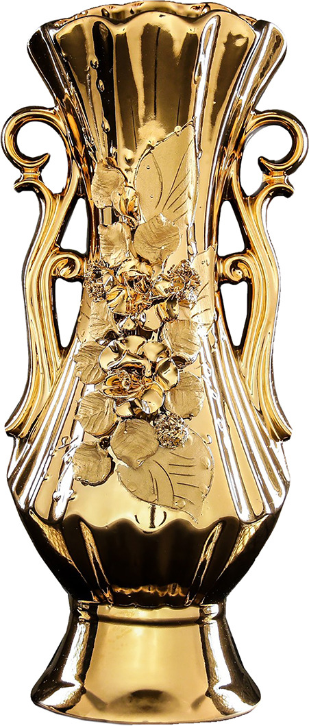 """Ваза Керамика ручной работы """"Рута"""", 196364, золотой, 17 х 17 х 36 см"""