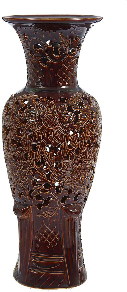 """Ваза Керамика ручной работы """"Элегия"""", 1239846, коричневый, 24 х 24 х 57 см"""