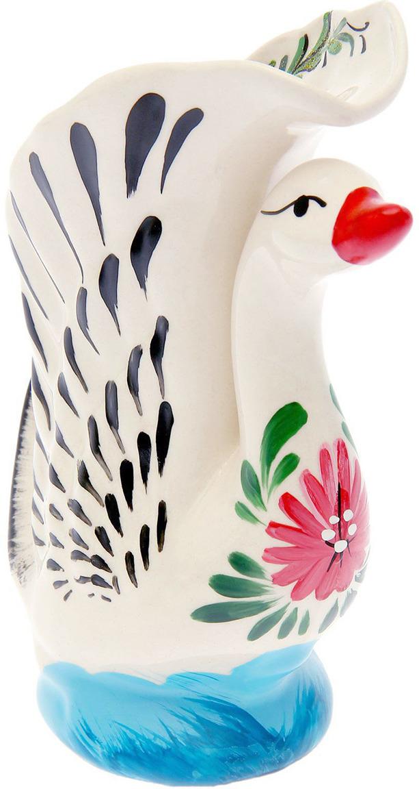 Фото - Ваза Керамика ручной работы Лебедь высокий, 1417953, белый, 8 х 15 х 19 см ваза керамика ручной работы замок 1164731 коричневый 20 х 20 х 66 см