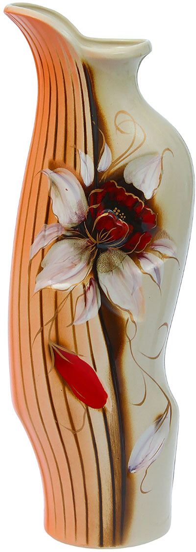 Ваза Керамика ручной работы Флора, 1223283, бежевый, 45 х 12 х 15 см ваза керамика ручной работы натали 2 776273 бежевый 13 х 13 х 26 см
