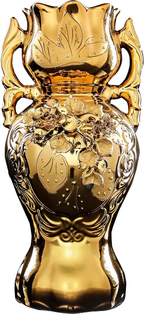 Ваза Керамика ручной работы Велите, 196339, золотой, 18 х 18 х 37 см ваза керамика ручной работы натали 2 776273 бежевый 13 х 13 х 26 см