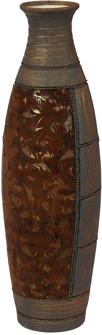 """Ваза Керамика ручной работы """"Сигма"""", 1136808, коричневый, 22 х 22 х 84 см"""