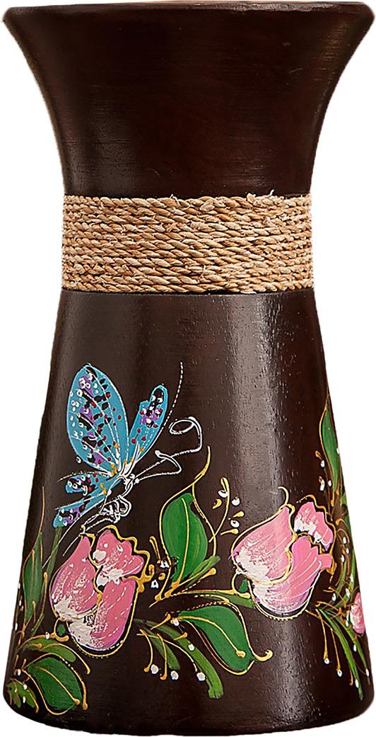 "Ваза ""Бабочка на цветах"", 3256929, коричневый, 10 х 10 х 19 см"