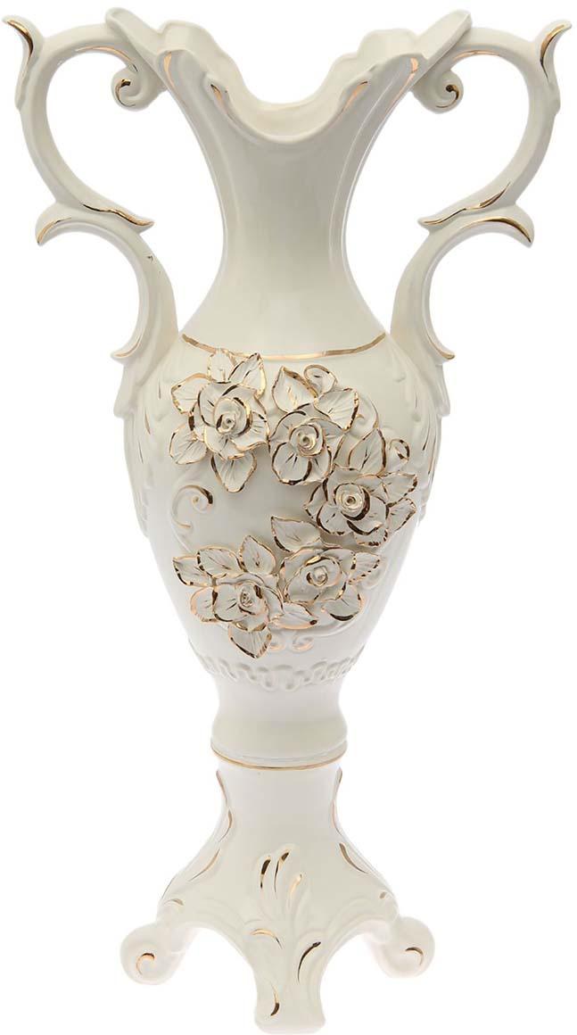 """Ваза Керамика ручной работы """"Монро"""", 1563513, белый, золотистый"""