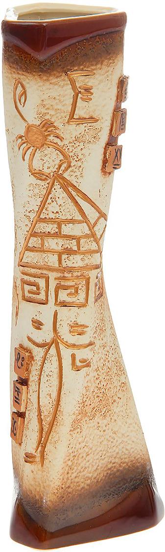 "Ваза Керамика ручной работы ""Кетана"", 1165334, коричневый, 14 х 14 х 41 см"