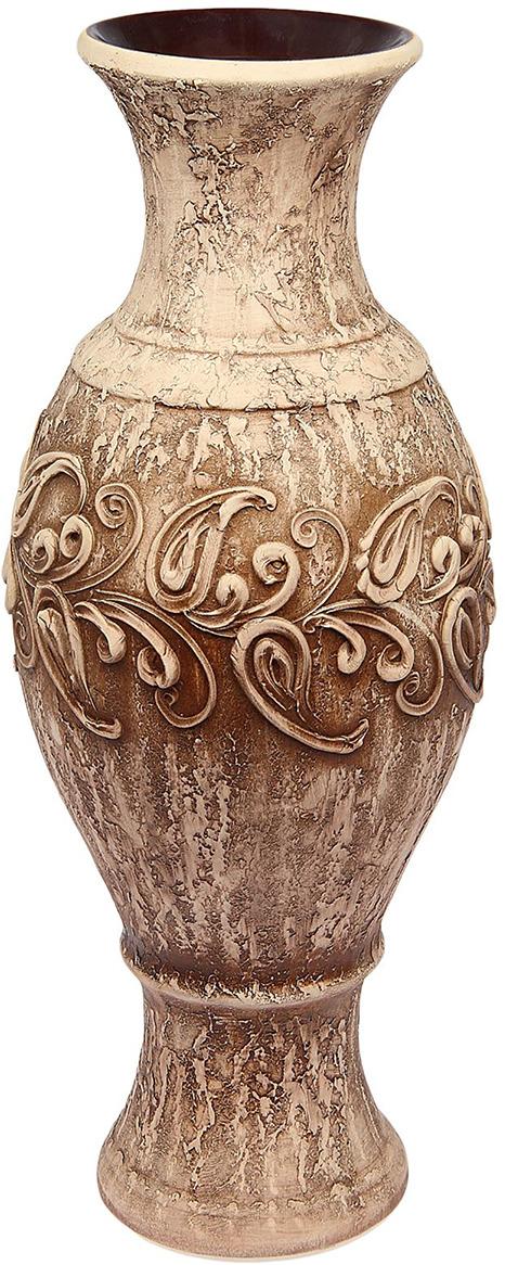 """Ваза Керамика ручной работы """"Юлия"""", 1476358, коричневый, 24 х 24 х 65 см"""