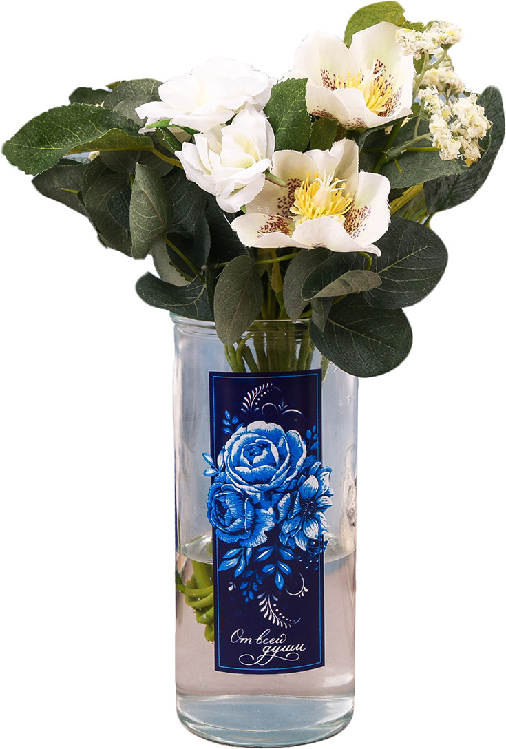 Ваза Дарите Счастье От всей души, 3837490, прозрачный, синий буркова мария олеговна эпитафия романтизму или недарите даме камелий