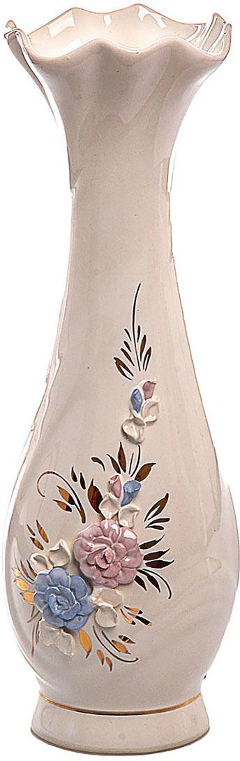 Ваза Керамика ручной работы Вьюнок, 774538, розовый, 25 х 5 х 5 см ваза керамика ручной работы натали 2 776273 бежевый 13 х 13 х 26 см
