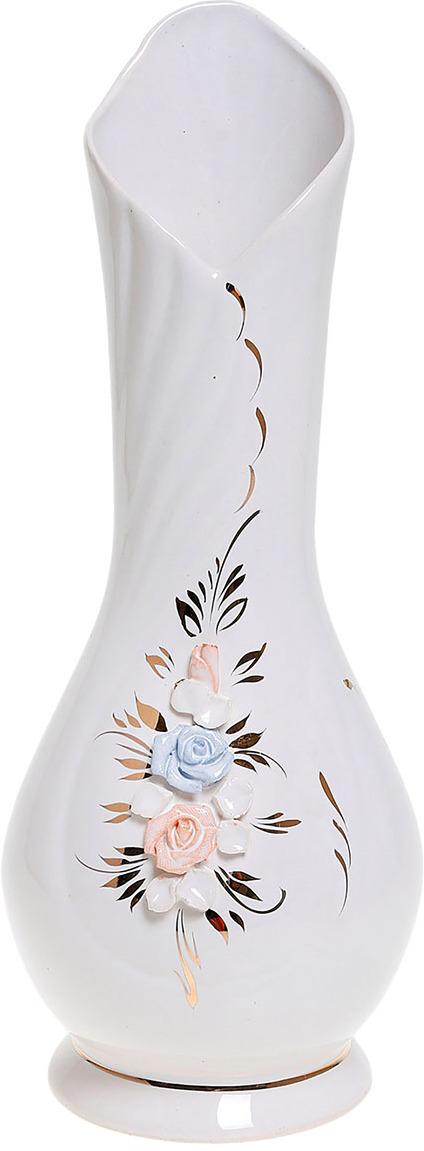Ваза Керамика ручной работы Воротник, 774536, белый, 12 х 12 х 21 см ваза керамика ручной работы натали 2 776273 бежевый 13 х 13 х 26 см