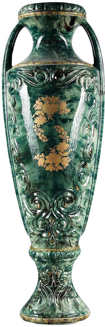 Фото - Ваза Керамика ручной работы Веста, 193375, зеленый, золотистый, 20 х 20 х 60 см ваза керамика ручной работы замок 1164731 коричневый 20 х 20 х 66 см