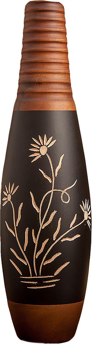 "Ваза ""Цветы"", 3257170, коричневый, бежевый, 12,5 х 12,5 х 45 см"