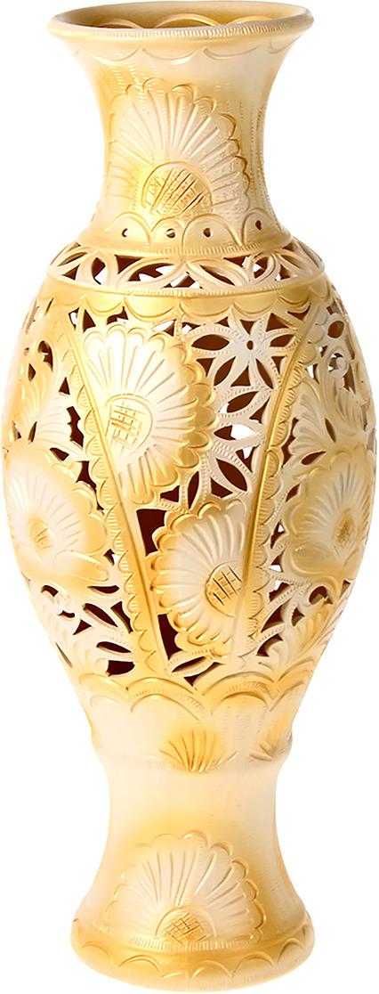"""Ваза Керамика ручной работы """"Юлия"""", 198739, золотистый, белый, 62 х 20 х 20 см"""