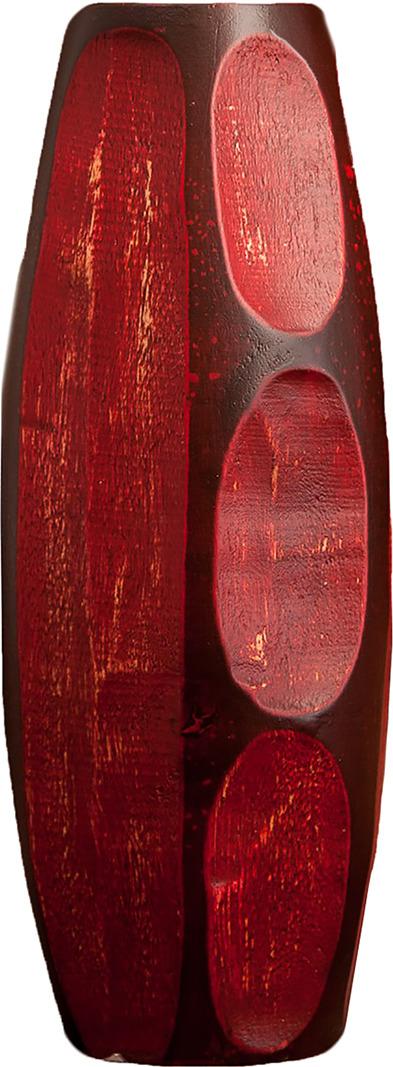 Ваза Огонь, 3256954, коричневый, красный, 10 х 10 х 25 см3256954Оригинальная декоративная ваза из мангового дерева. Если вы хотите украсить свою спальню или преподнести красивый и полезный подарок своим друзьям или родным, то эта изящная ваза - прекрасный выбор.