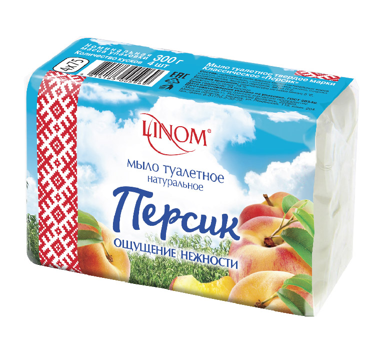 """Мыло туалетное LINOM(БЕЛАРУСЬ) """"Персик"""". Классическое. Натуральное. 300 грамм(4х75)."""