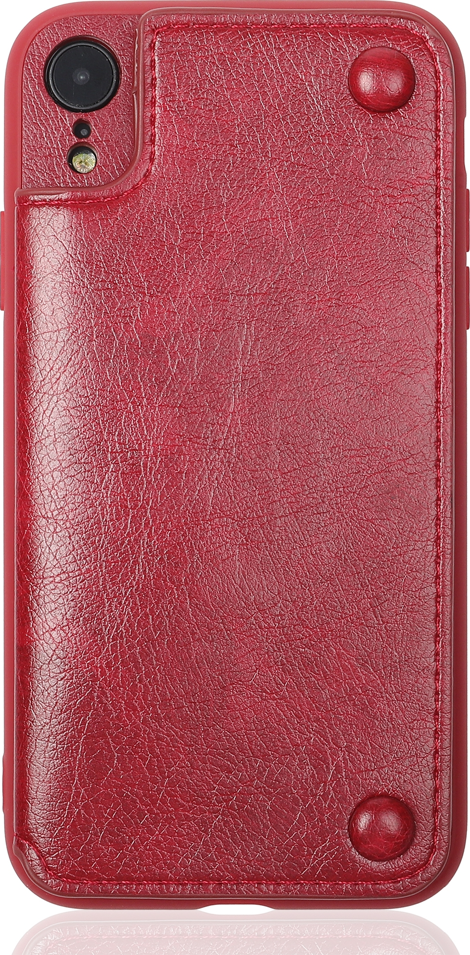 Чехол Brosco Leather Wallet для Apple iPhone XR, красный