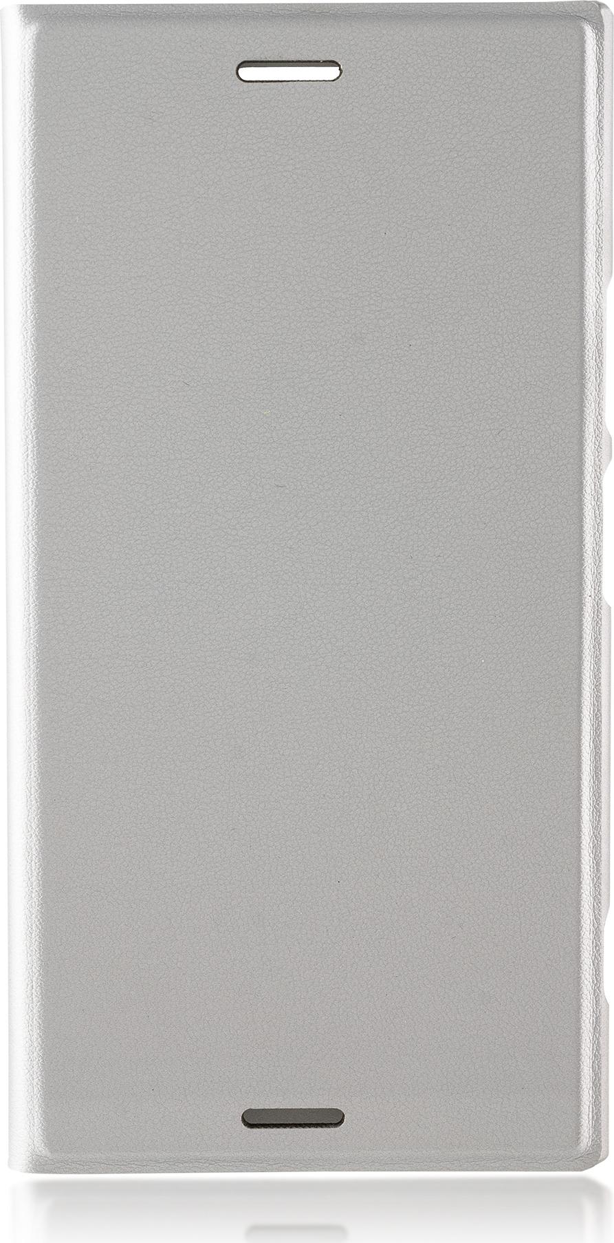 Чехол Brosco Book для Sony Xperia XZ1, серебристый