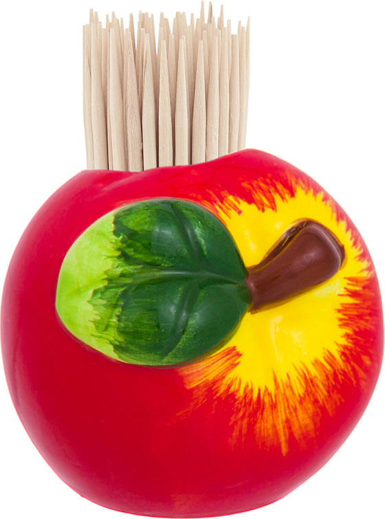 Подставка для зубочисток Elan Gallery Яблоко, 110958, красный, зеленый, 5,8 х 5,7 х 5,4 см вазочка под зубочистки elan gallery сова цвет красный 5 х 5 х 6 см