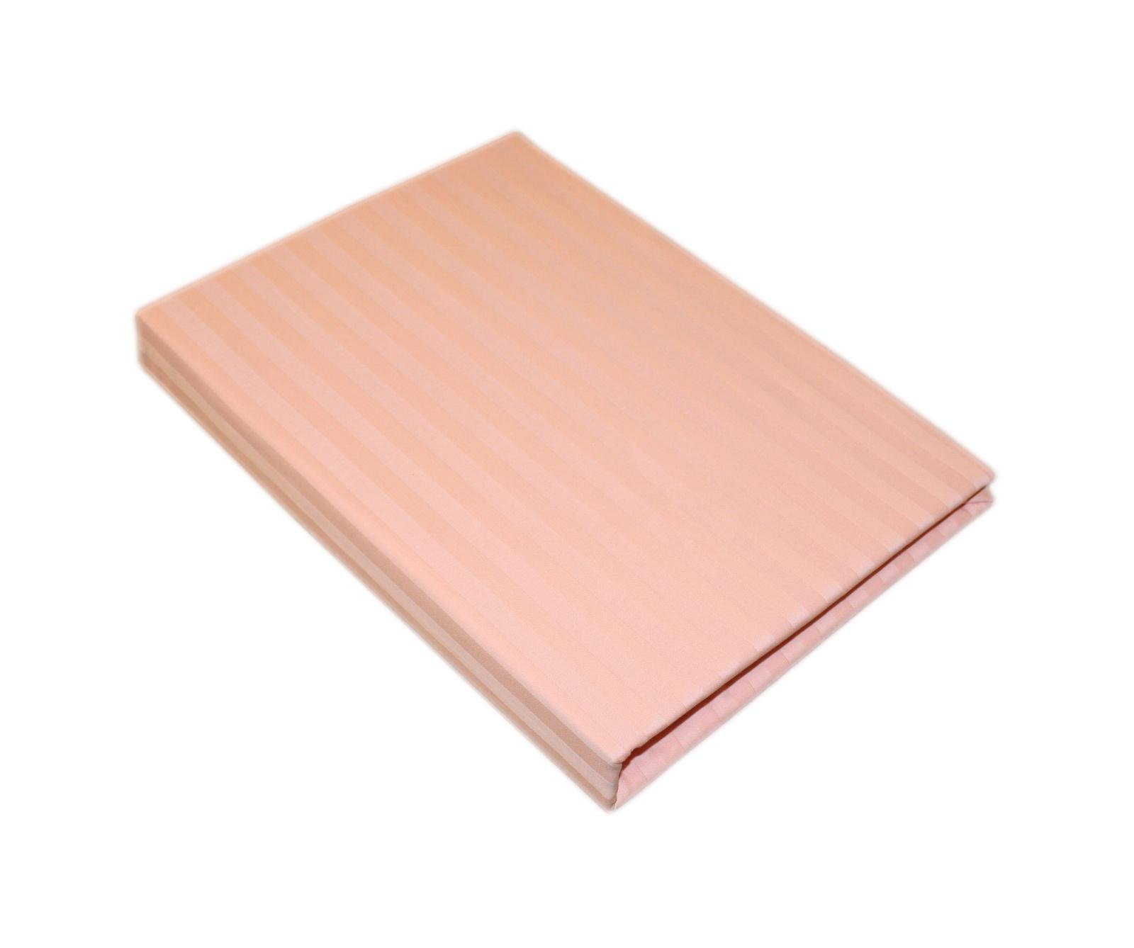 Простыня BegAl на резинке страйп сатин 160x200 светло-розовый