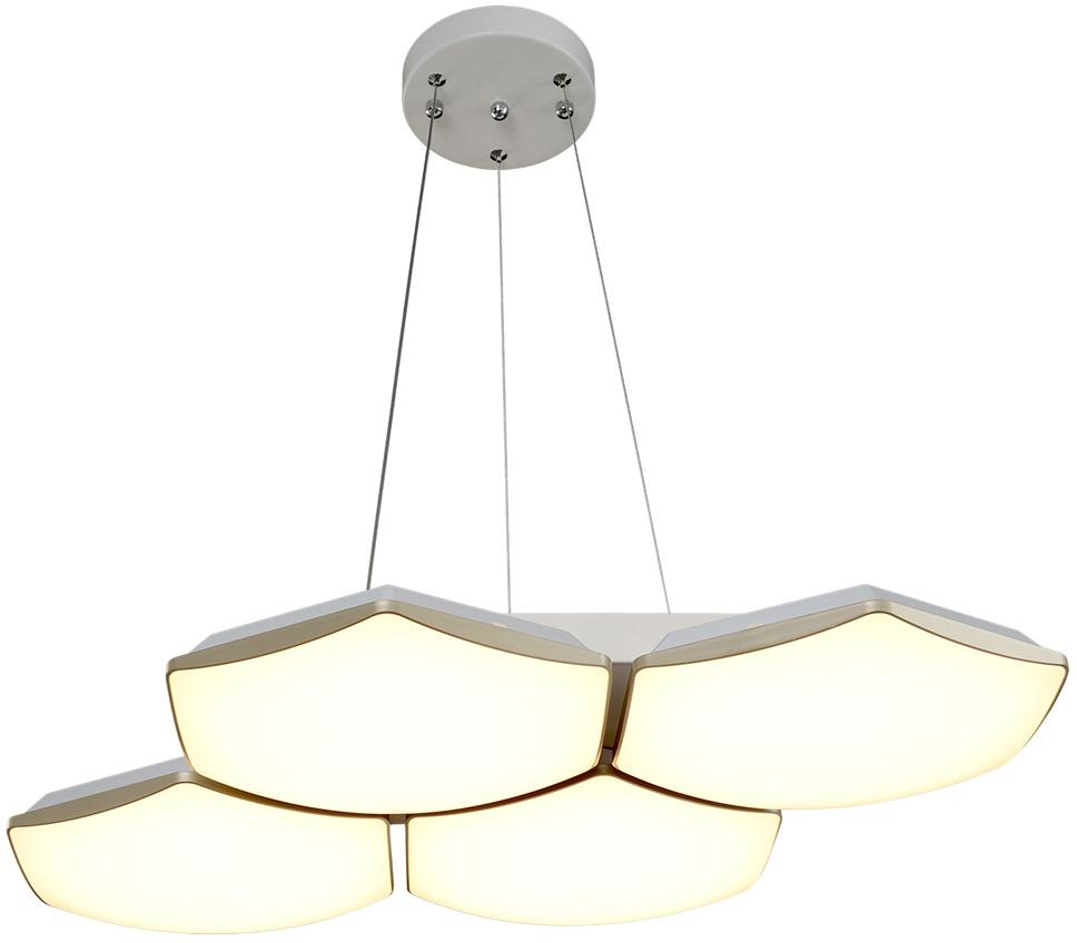 Потолочный светильник МАКСИСВЕТ 7319, 2-7319-4-WH+GL Y LED, 750х520х80, белый максисвет потолочная люстра максисвет design геометрия 1 1696 4 cr y led