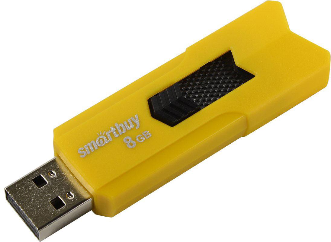 USB Флеш-накопитель SmartBuy Stream, SB8GBST-Y, 8 ГБ, yellow usb флеш накопитель smartbuy v cut 32gb usb 2 0 sb32gbvc s