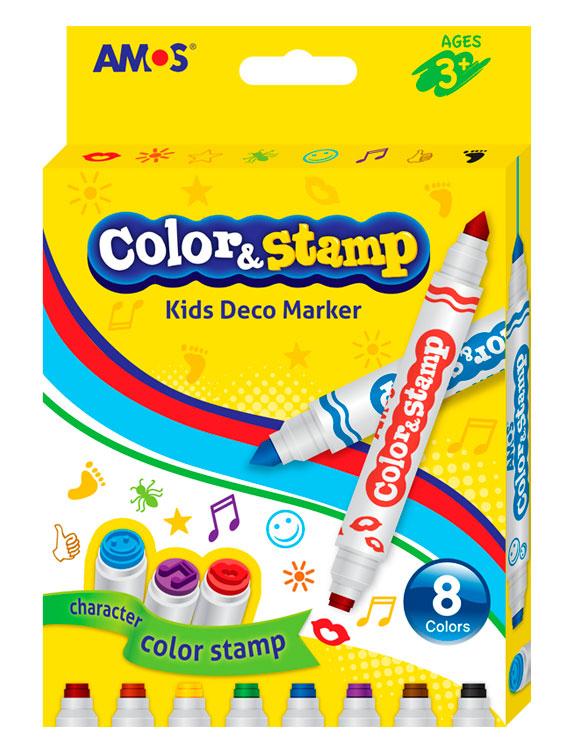 Набор фломастеров AMOS Фломастеры со штампами4804808 фломастеров и штампы с противоположной стороны: красный - губки, желтый - звезда, зеленый - паук, синий - смайл, черный - след, фиолетовый - ноты, розовый - солнце, коричневый – рука. Мягкое нанесение * Применение на бумаге, картоне, ткани и др.* Конический кончик стержня позволяет как тонкое, так и толстое нанесение * На водной основе, не содержит кислот* Слабый аромат, быстросохнущие чернила* Яркие цвета. Хорошо смывается водой с кожи.