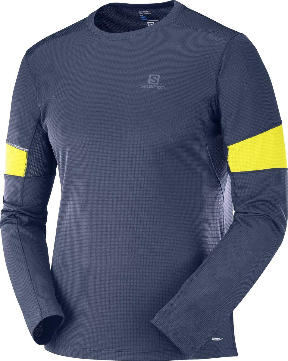Лонгслив мужской Salomon Agile Ls Tee, цвет: синий. L40383900. Размер S (46)L40383900Мужская футболка AGILE LS TEE гарантирует комфорт в широком диапазоне температур. Мягкий и быстросохнущий полиэстер с вентиляцией в нужных местах обеспечивает нужный эффект. Эта футболка эффективно предотвращает перегрев, а сдержанный стиль позволяет надевать ее всегда и везде. Светоотражающие элементы гарантируют видимость во время бега в ночное время Быстросохнущая ткань, дышащая конструкция и длинные рукава для тренировок в любое время года Быстросохнущая ткань Ткань, используемая в основной части изделия, хорошо дышит и быстро высыхает. Она идеально подойдет для круглогодичных занятий спортом Комфорт для активных людей Сетчатые вставки в зоне подмышек отводят лишнее тепло при интенсивных нагрузках Видимость Светоотражающие элементы гарантируют видимость во время бега в любое время суток.