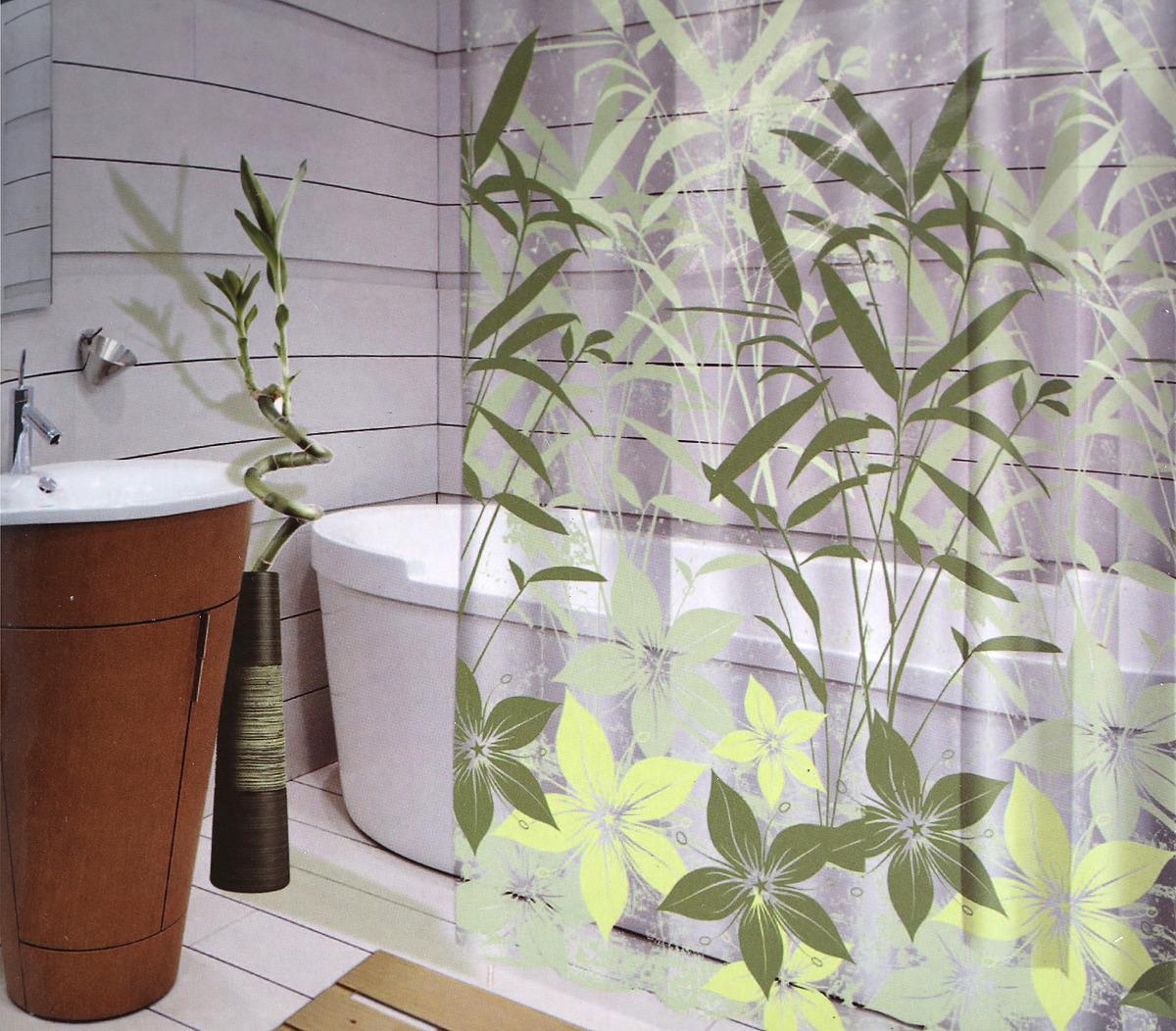 Штора для ванной Swensa Grass, цвет: зеленый, 180 х 180 см штора для ванной swensa бамбук цвет зеленый 180 х 180 см