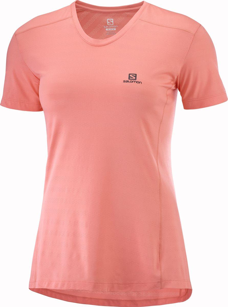 Футболка женская Salomon Xa Tee W, цвет: коралловый. LC1027500. Размер M (46)LC1027500Легкая и дышащая, подходящая для интенсивных тренировок и пробежек, женская футболка XA TEE смотрится великолепно. Футболка изготовлена из очень мягкого материала и имеет структурные вентиляционные отверстия. Эта стильная и современная одежда подойдет как для каждодневного использования, так и для интенсивных тренировок. Специальное покрытие ткани защищает от неприятного запаха, поэтому футболку не обязательно менять сразу после тренировки Высококачественная беговая футболка для любого времени года Предотвращает неприятный запах Покрытие Polygiene® помогает этой футболке справиться с неприятным запахом, даже если вы выкладываетесь на все сто Быстросохнущая ткань Футболка сделана из полиэстера. Этот материал хорошо пропускает воздух и очень быстро сохнет Минимальный вес Эта легкая футболка хорошо подойдет для занятий в жаркую погоду.