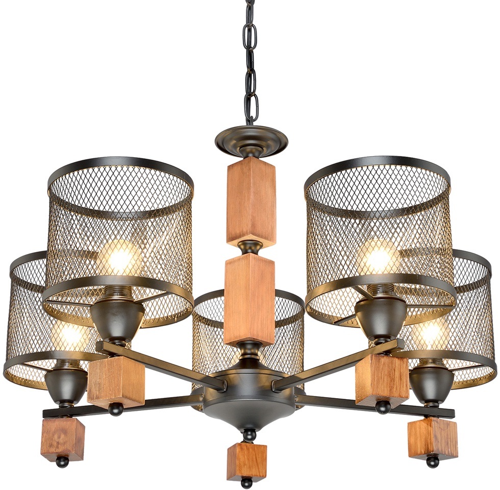 Подвесной светильник МАКСИСВЕТ 4425, 2-4425-5-BK+WE E14, 500х450х450, черный максисвет потолочная люстра максисвет design геометрия 1 1696 4 cr y led